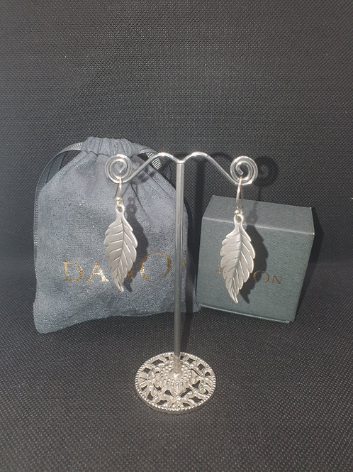 Large leaf drop earrings