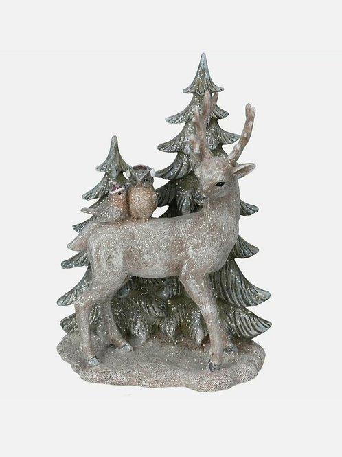 Resin stag ornament with tree decoration