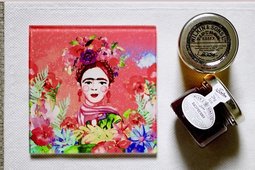 Pink Frida Kahlo Glass Coaster