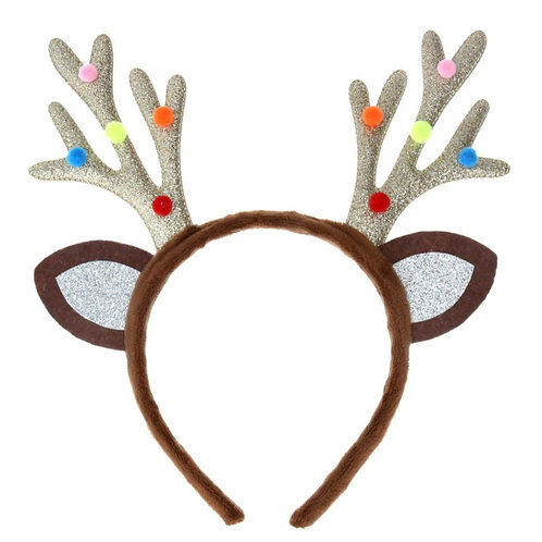 Gold fabric antlers with pom poms (38797)