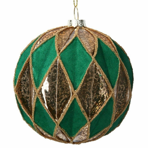 Glass Bauble (10cm) - Green/Gold Ribbed Harlequin  (01400)