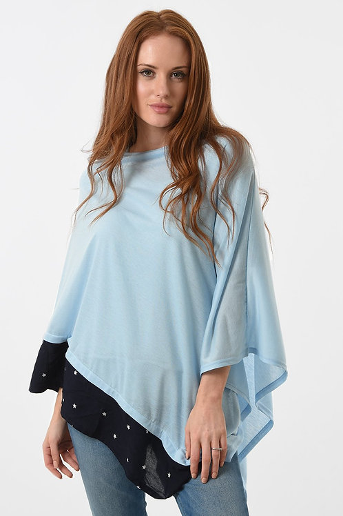 Poncho with star trim  (available in 5 different colourways)