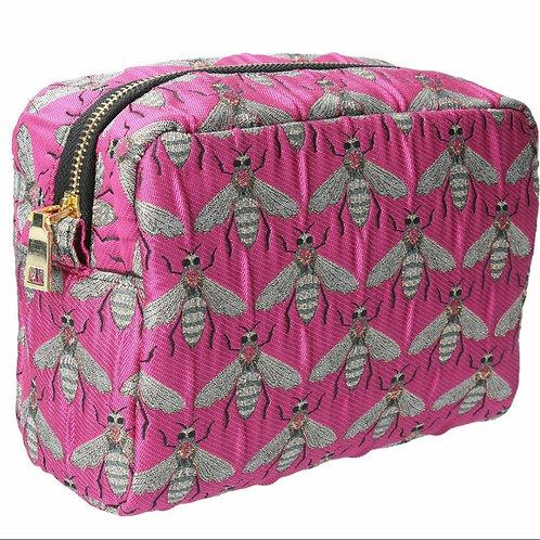 Fuschia bee jacquard cosmetic pouch