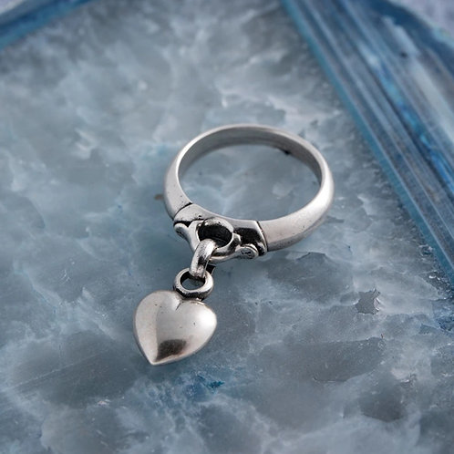 Heart charm ring - large