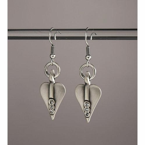 Signature heart crystal drop earrings