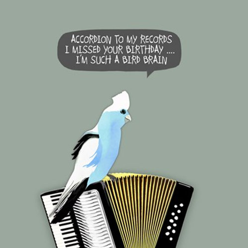I missed your birthday, I'm such a bird brain- greetings card