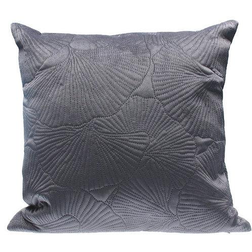 Grey ginko velvet cushion