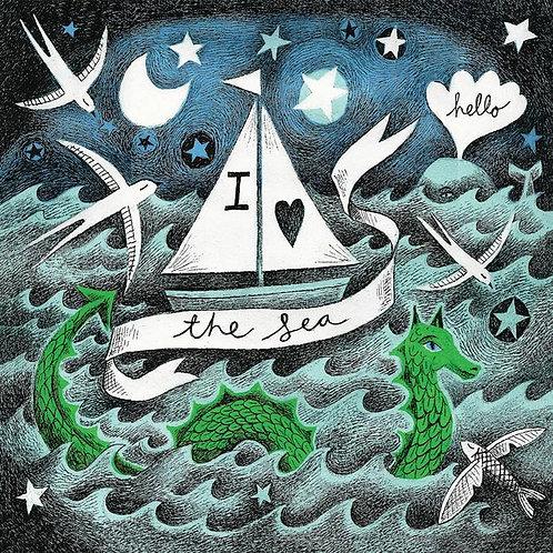 I Love The Sea Greeting Card And Coaster