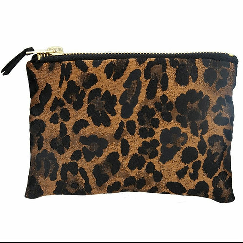 Copper leopard jacquard purse