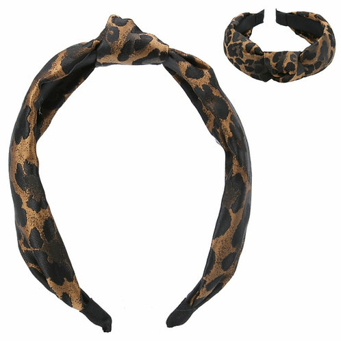 Copper leopard jacquard headband
