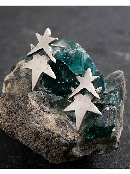 Double star stud earrings
