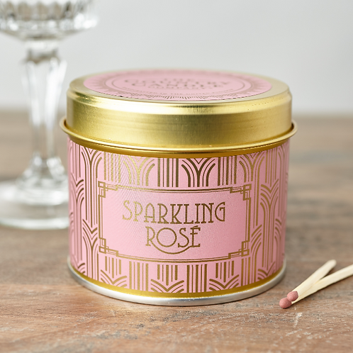 Sparkling Rose tin candle- Happy hour collection