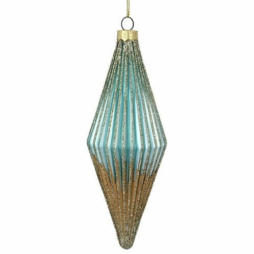 Glass hanging decoration- Turq/Gold Dipped Teardrop  (01758)