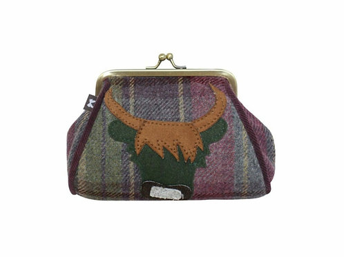 Heather cow tweed lara purse