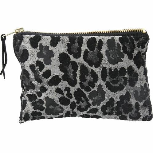 Silver leopard jacquard purse
