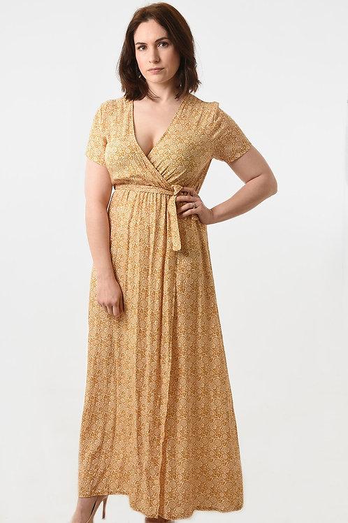 Mustard floral wrap dress