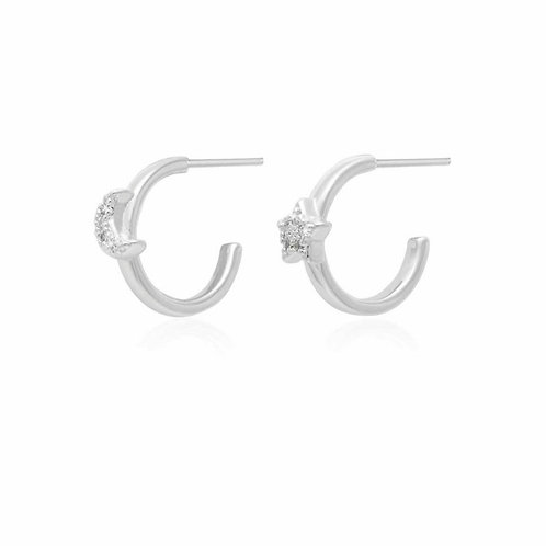 Estelle star and moon hoop earring
