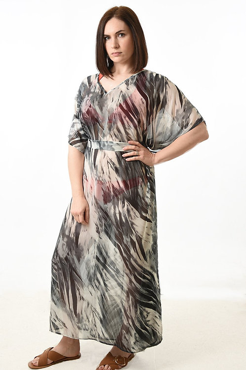 Long grey patterned kaftan
