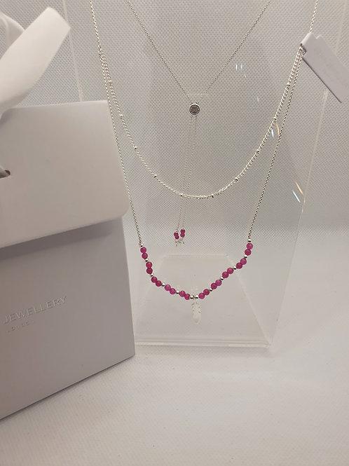 Silver signature stones necklace (4 colourways)