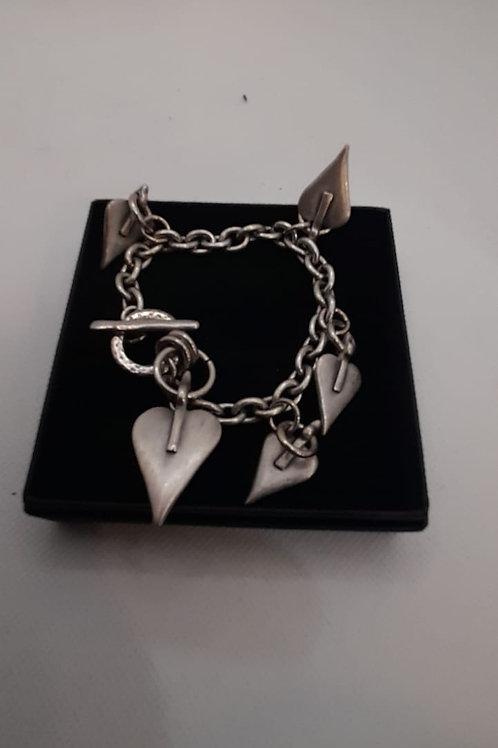 Multi heart chunky t-bar bracelet