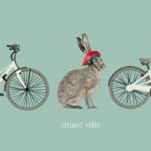 Helmet Hare - greetings card