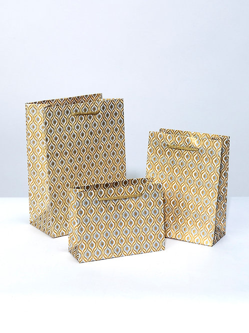Lotus eyes gift bags- Cream and gold (3 sizes available)