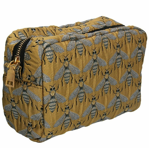 Gold bee jacquard cosmetic pouch