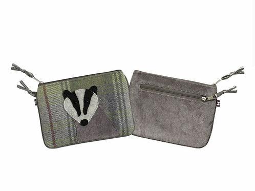 Grey badger tweed applique juliet purse