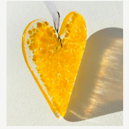 Yellow Fused Glass Heart