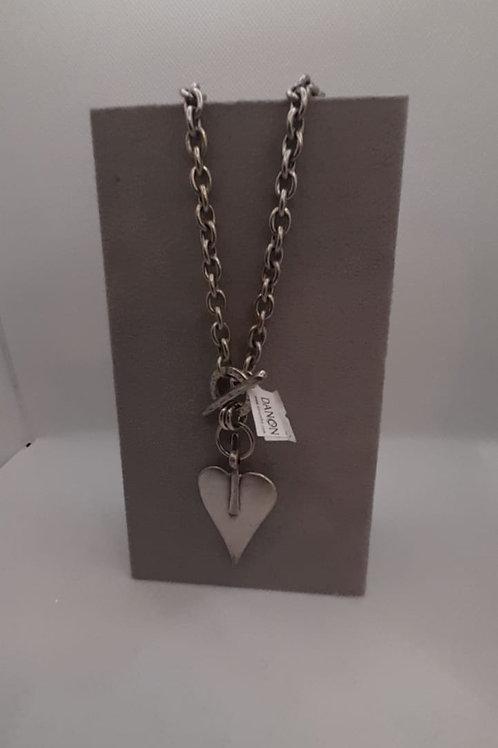 Chunky heart t-bar necklace