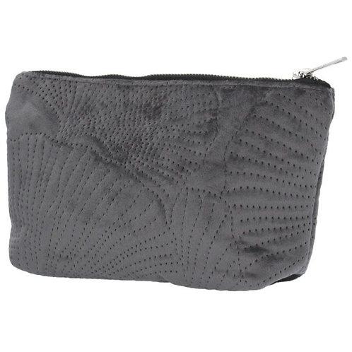 Grey velvet ginko pouch