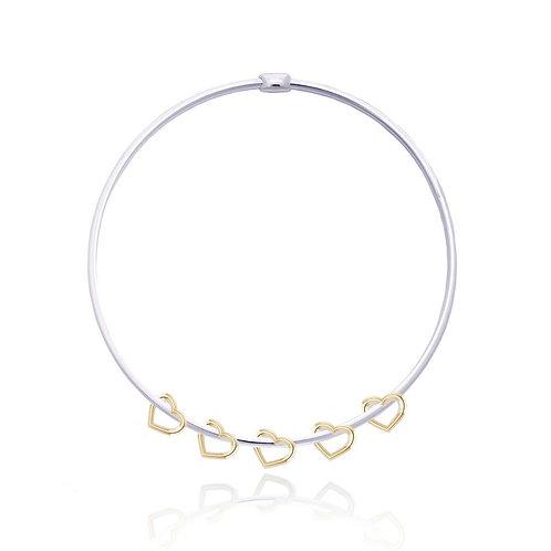 Phoebe silver & gold heart bracelet