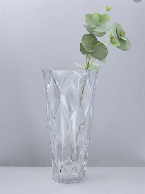 Clear trellis glass vase