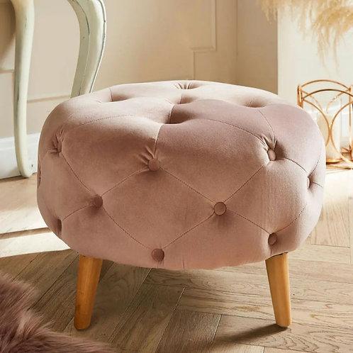 Buttoned velvet footstool