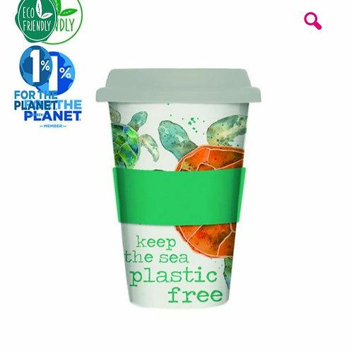 Turtle eco friendly bamboo travel mug