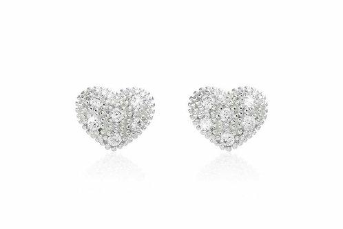 Bella pave heart stud earrings