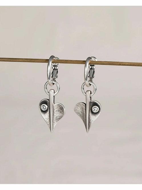 Crystal leaf of love hoop earrings