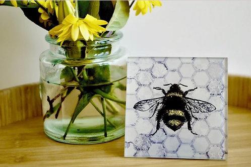 Grey Honeycomb Bee Glass Coaster