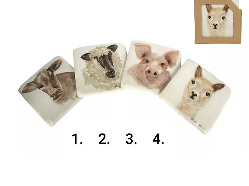 Farmyard animal resin coasters