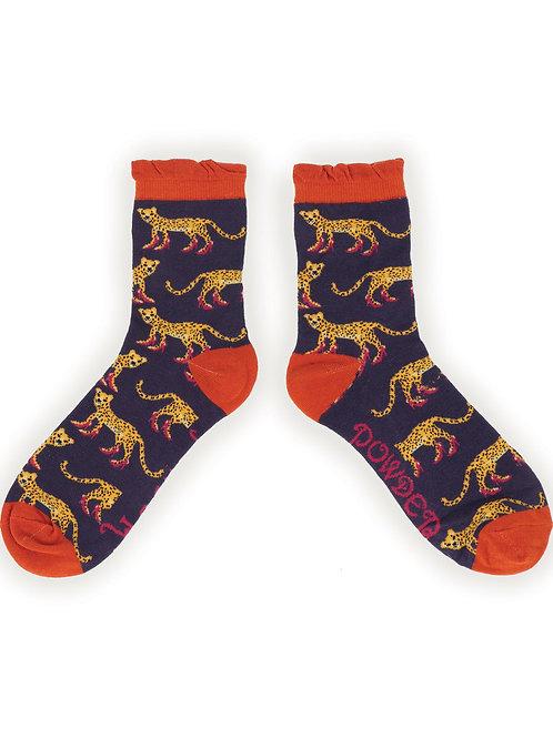 Leopard in heels ladies ankle socks