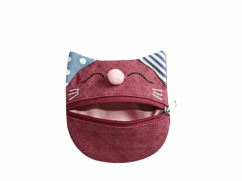 Plum canvas cat purse