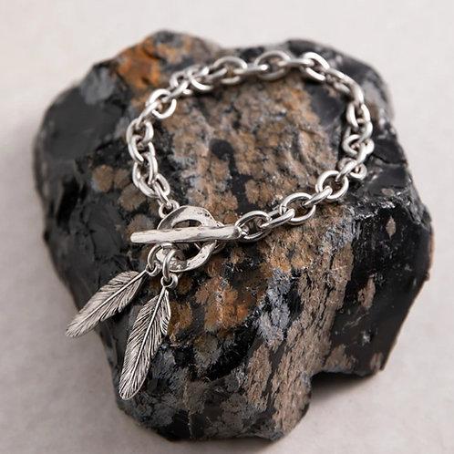 Double feather T-bar bracelet