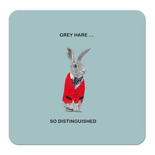 Grey hare, so distinguished- coaster