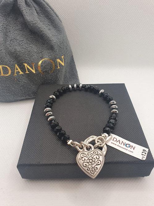 Beaded silver heart bracelet