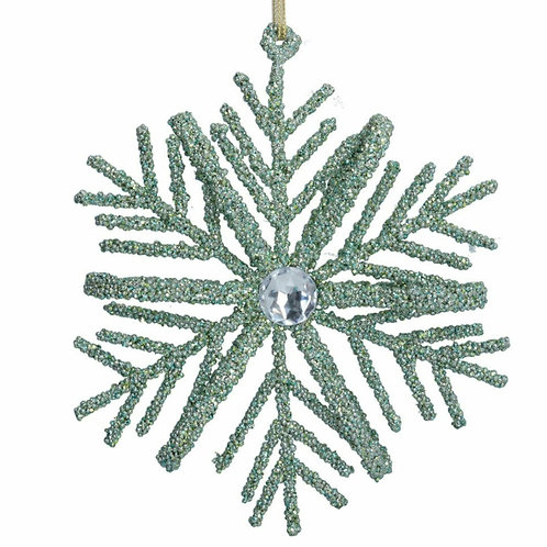 Pale green glitter snowflake decoration (17955)