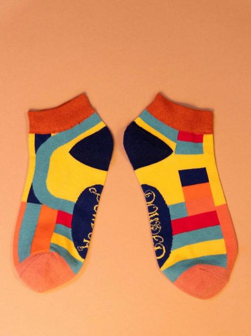 Curved stripes trainer socks