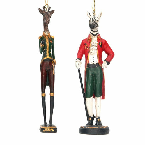 Resin gentleman giraffe & zebra decoration (16646)