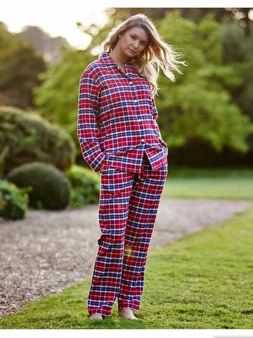 Red tartan brushed cotton ladies pyjama set