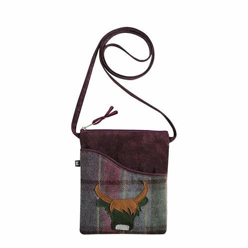 Heather cow tweed applique sling bag
