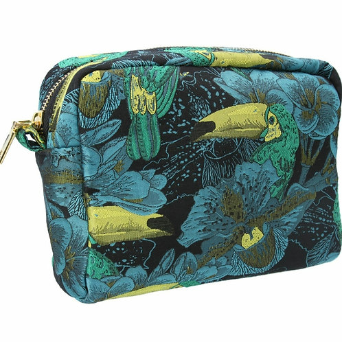 Toucan jacquard cosmetic pouch